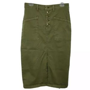 Anthropologie Army Green Button Fly Skirt